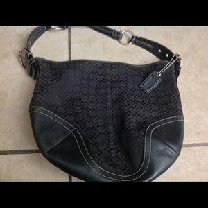 COACH Large Black Logo Fabric & Leather Purse